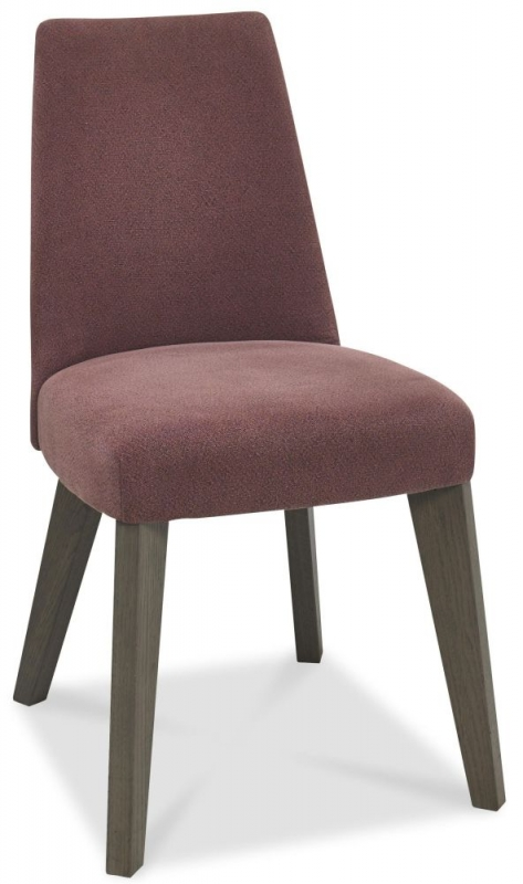 Bentley Designs Cadell Aged and Weathered Oak Dining Chair - Mulberry Upholstered (Pair)