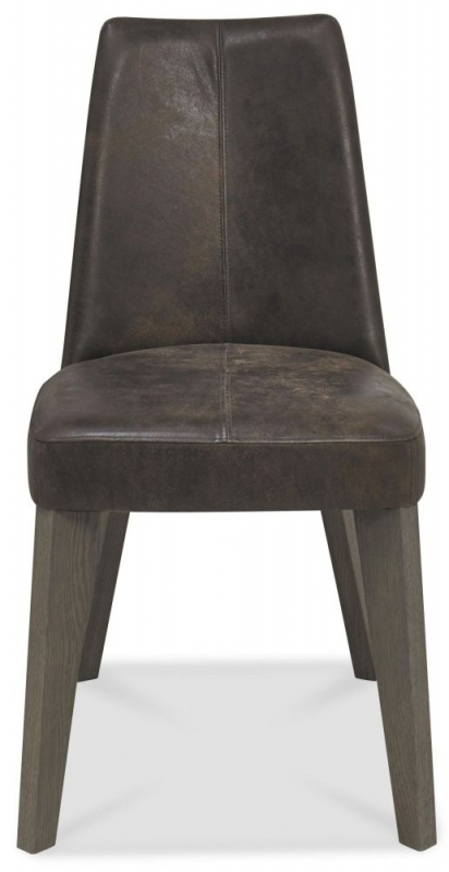 Bentley Designs Cadell Aged and Weathered Oak Dining Chair - Brown Bonded Leather Upholstered (Pair)