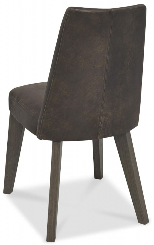 Bentley Designs Cadell Aged and Weathered Oak Dining Chair - Disstressed Bonded Leather Upholstered (Pair)