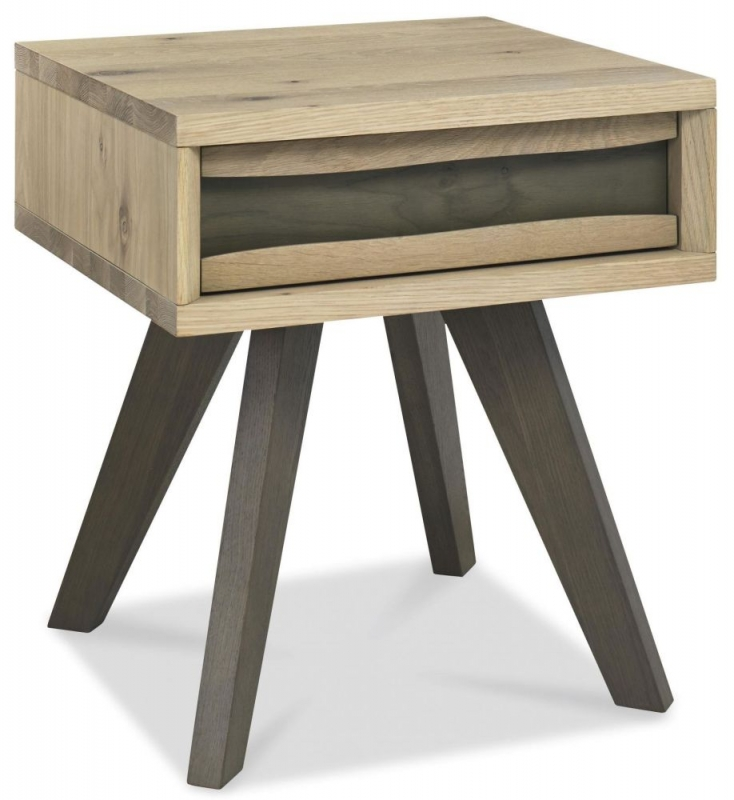 Bentley Designs Cadell Aged and Weathered Oak Lamp Table - 1 Drawer
