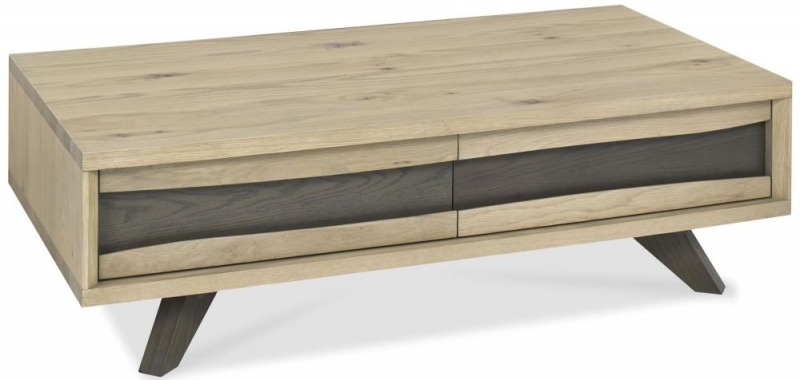 Bentley Designs Cadell Aged and Weathered Oak Coffee Table - 2 Drawer