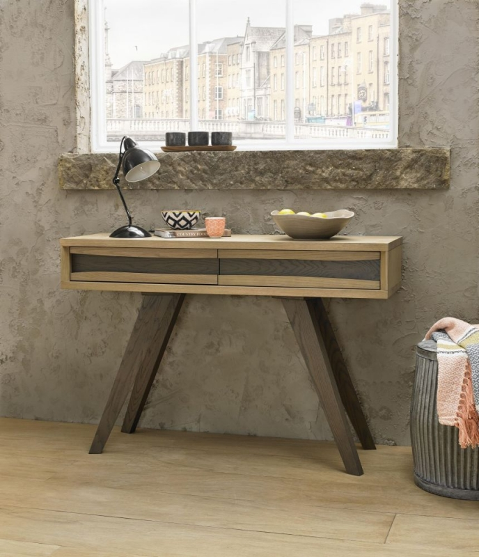 Bentley Designs Cadell Aged and Weathered Oak Console Table - 2 Drawer