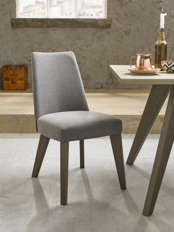 Bentley Designs Cadell Aged and Weathered Oak Dining Set with 6 Smoke Grey Upholstered Chairs