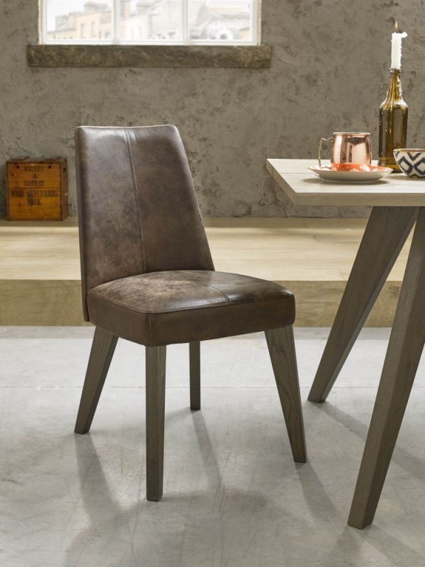 Bentley Designs Cadell Aged and Weathered Oak Dining Set with 6 Disstressed Bonded Leather Upholstered Chairs