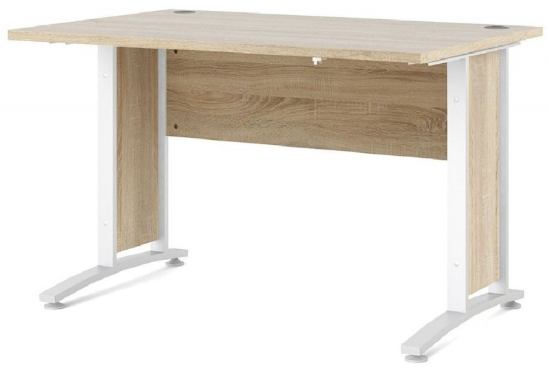 Prima Oak 120cm Desk with White Legs