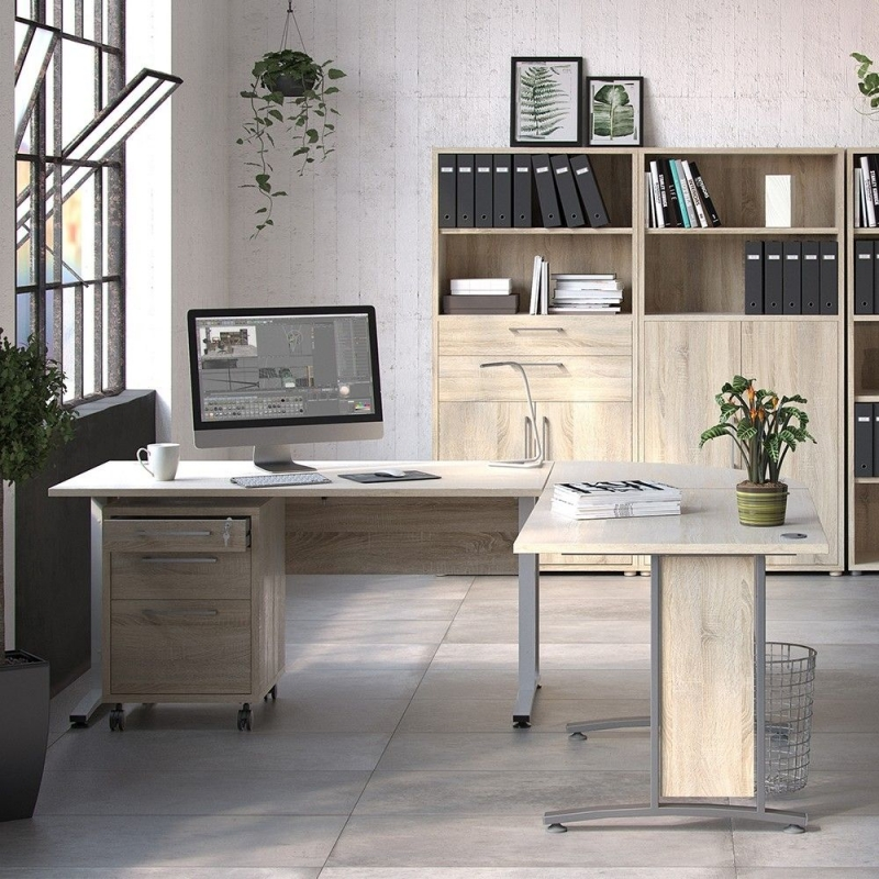 Prima Oak 120cm Desk with Silver Legs