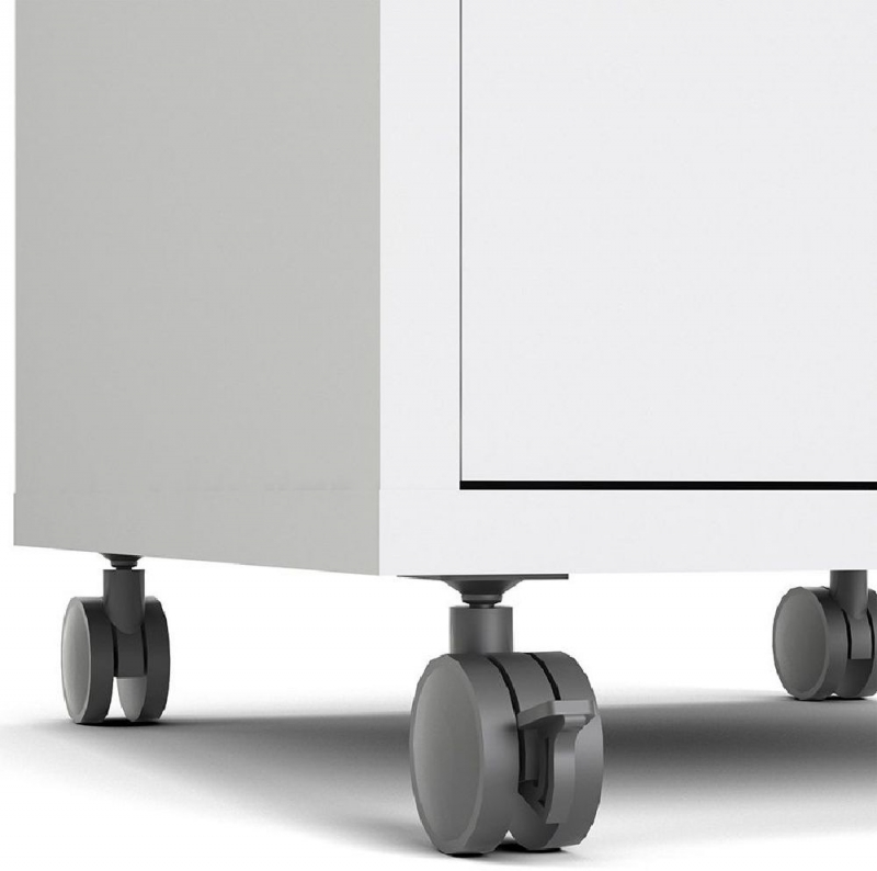 Prima White Mobile File Cabinet
