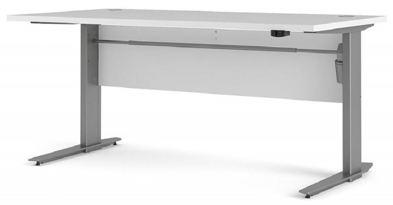 Prima White 150cm Desk with Silver Electric Height Adjustable Legs