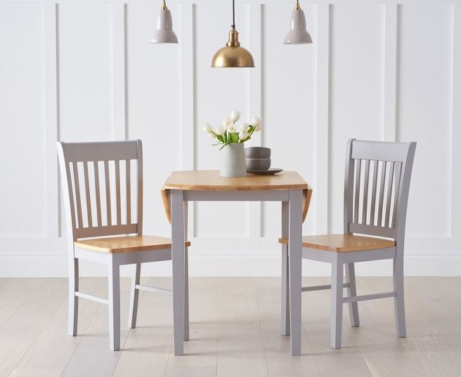 Mark Harris Genovia Oak and Grey Drop Leaf Extending Dining Table and 4 Chairs