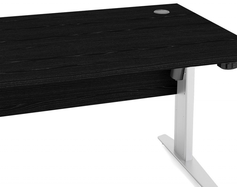 Prima Black 150cm Desk with White Electric Height Adjustable Legs