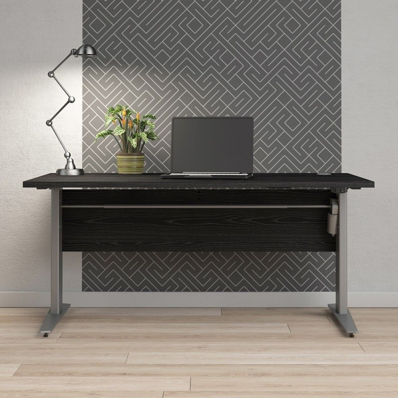 Prima Black 150cm Desk with Silver Electric Height Adjustable Legs