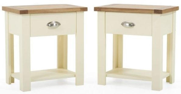Mark Harris Sandringham Oak and Cream Bedside Table