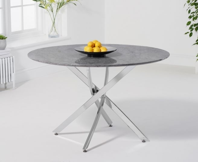 Clearance - Mark Harris Clara Grey Marble and Chrome Round Dining Table - New - E-223