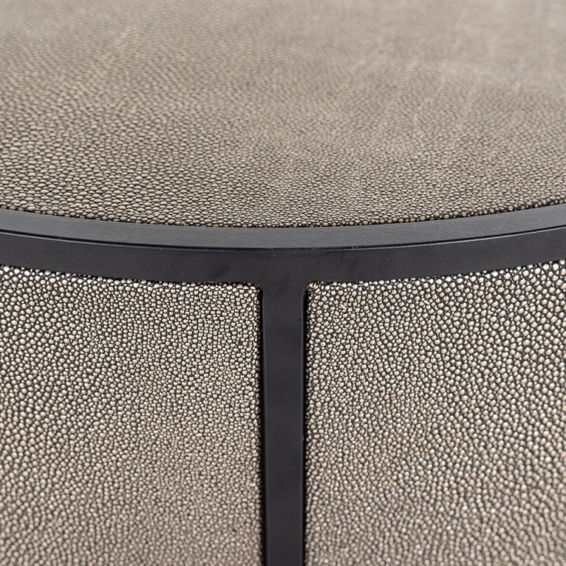 Lustrio Shagreen Faux Leather Side Table