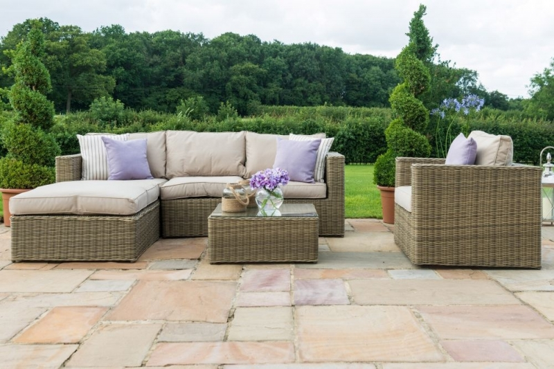 Maze Rattan Winchester Chaise Corner Sofa Group with Armchair