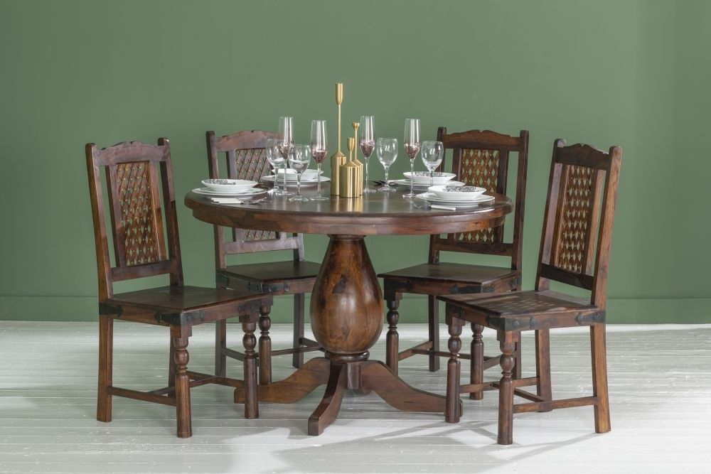 Jali Indian Sheesham Wood 120cm Round Pedestal Dining Table