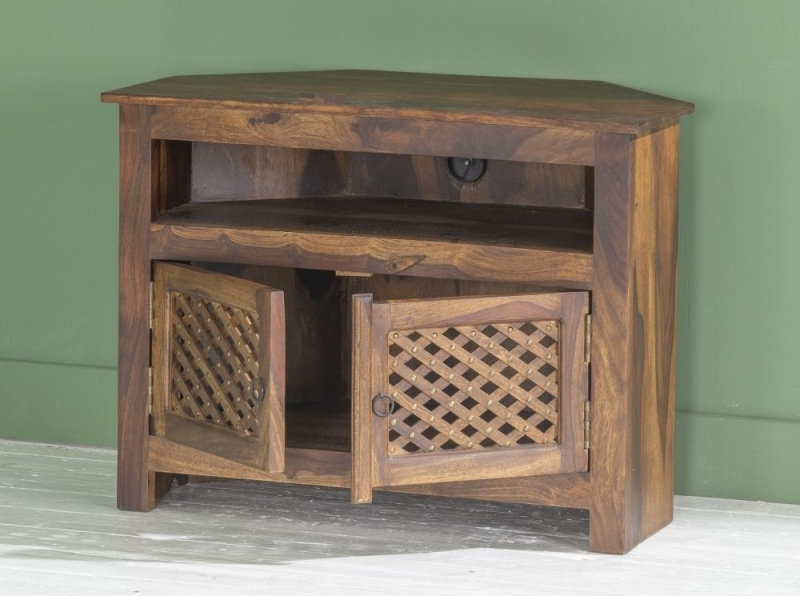 Jali Indian Sheesham Wood 80cm Corner TV Unit