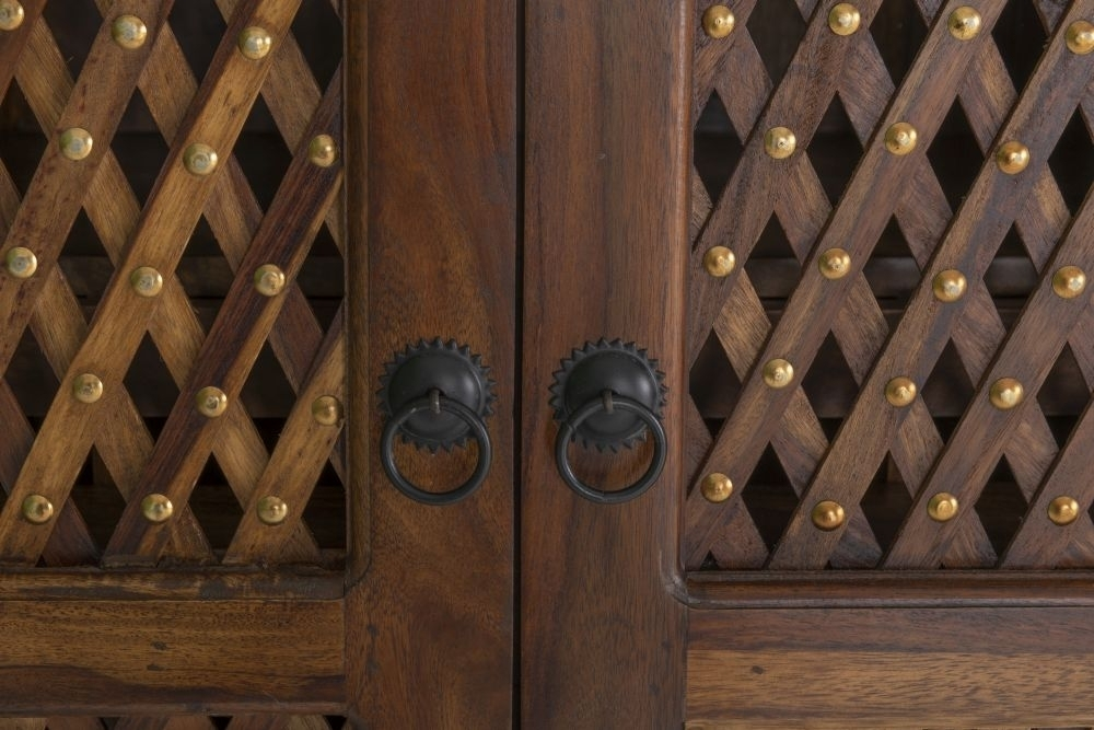 Jali Indian Sheesham Wood Double Pedestal Desk