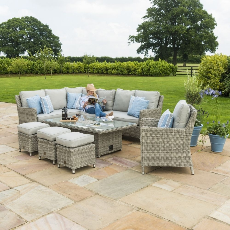 Maze Rattan Oxford Corner Dining Set with Armchair, Ice Bucket and Rising Table