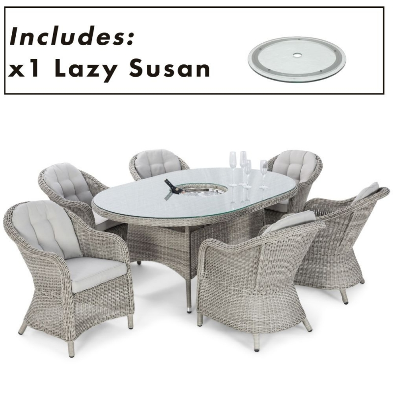 Maze Rattan Oxford Heritage 6 Oval Dining Set with Ice Bucket and Lazy Susan