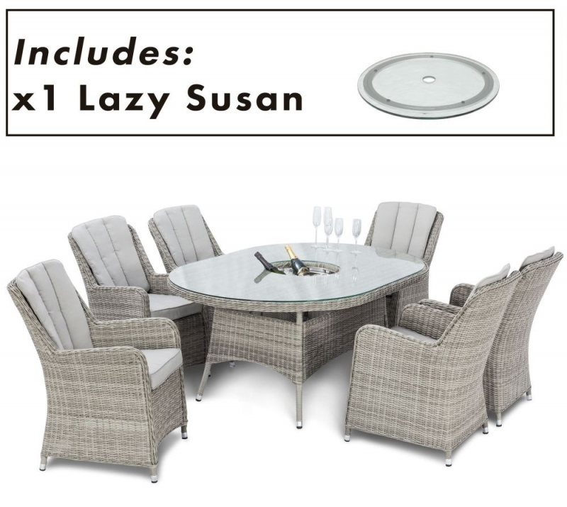 Maze Rattan Oxford Venice 6 Oval Dining Set with Ice Bucket and Lazy Susan