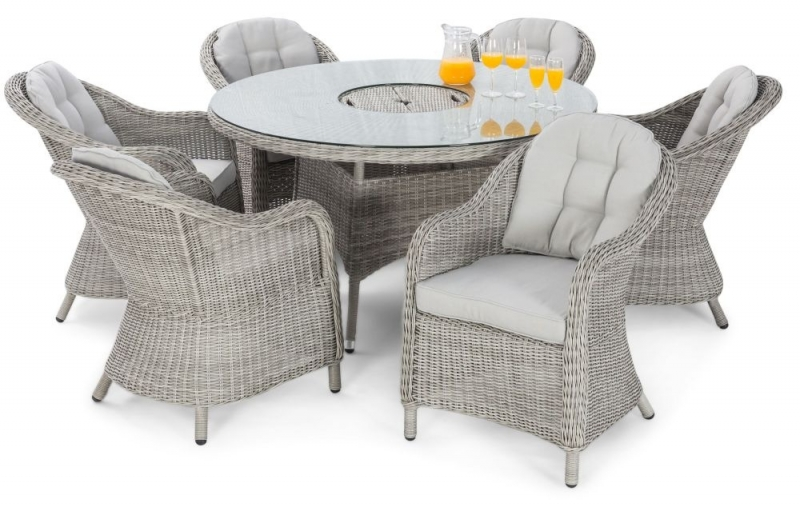 Maze Rattan Oxford Heritage 6 Seat Round Dining Set with Ice Bucket and Lazy Susan