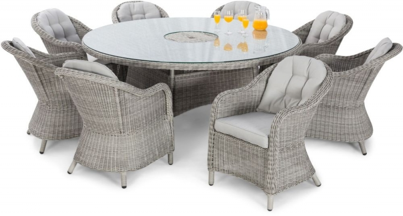 Maze Rattan Oxford Heritage 8 Seat Oval Dining Set with Lazy Susan and Ice Bucket