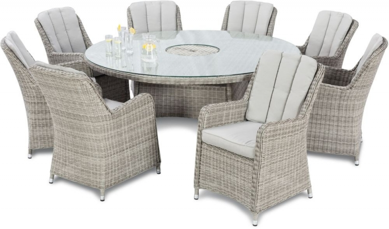 Maze Rattan Oxford Venice 8 Seat Round Dining Set with Ice Bucket and Lazy Susan