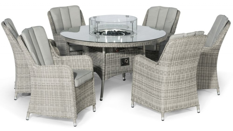 Maze Rattan Oxford Venice 6 Seat Round Fire Pit Dining Set with Lazy Susan