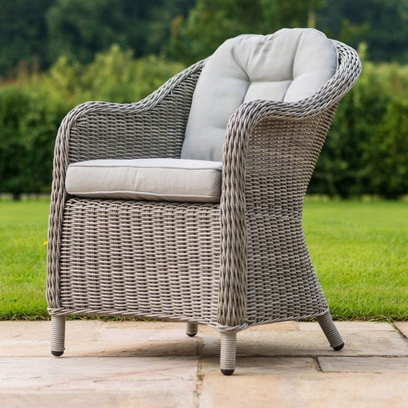 Maze Rattan Oxford Heritage 6 Seat Round Fire Pit Dining Set with Lazy Susan