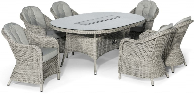 Maze Rattan Oxford Heritage 6 Seat Oval Fire Pit Dining Set