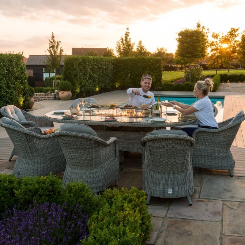 Maze Rattan Oxford Heritage 8 Seat Oval Fire Pit Dining Set