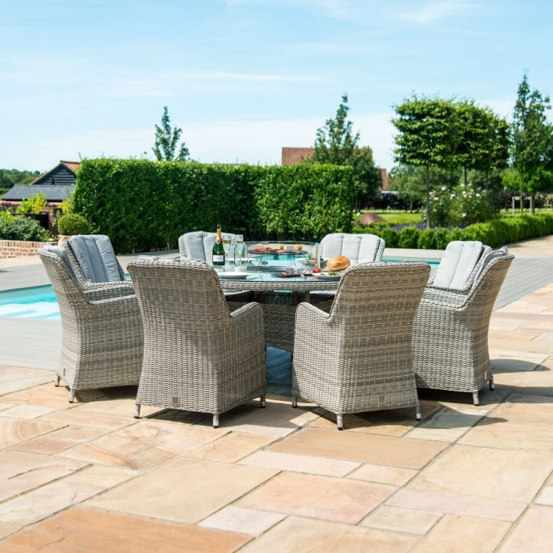 Maze Rattan Oxford Venice 8 Seat Round Fire Pit Dining Set with Lazy Susan
