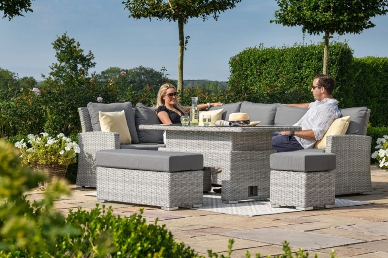 Maze Rattan Ascot Rectangular Corner Dining Set with Rising Table and Weatherproof Cushions