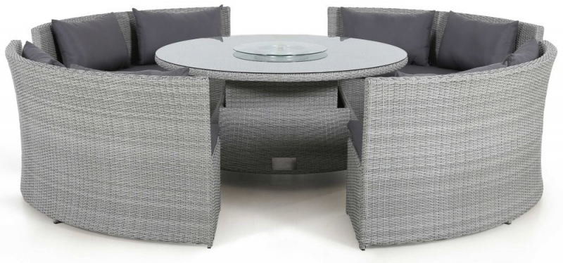 Maze Rattan Ascot Round Sofa Dining Set with Rising Table and Weatherproof Cushions
