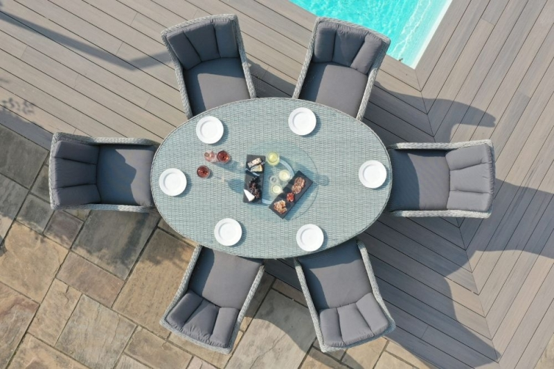 Maze Rattan Ascot 6 Seat Oval Dining Set with Lazy Susan and Weatherproof Cushions