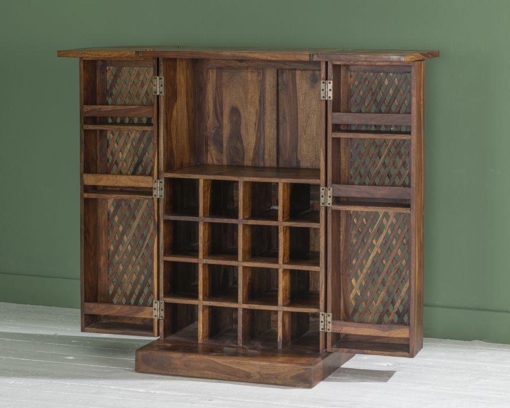 Jali Indian Sheesham Wood Bar Cabinet