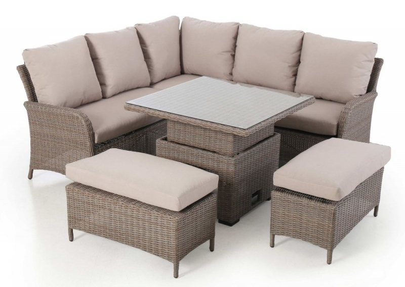 Maze Rattan Harrogate Square Corner Dining Set with Rising Table and Weatherproof Cushions