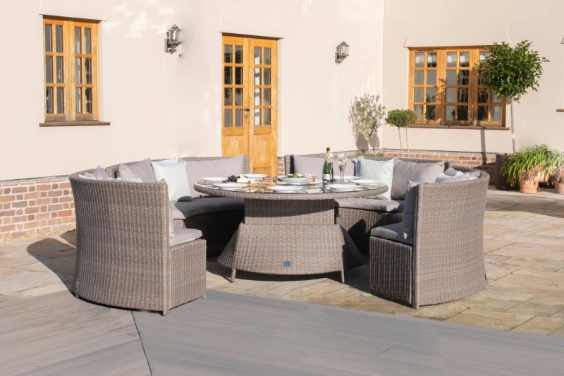 Maze Rattan Harrogate Round Sofa Dining Set with Rising Table