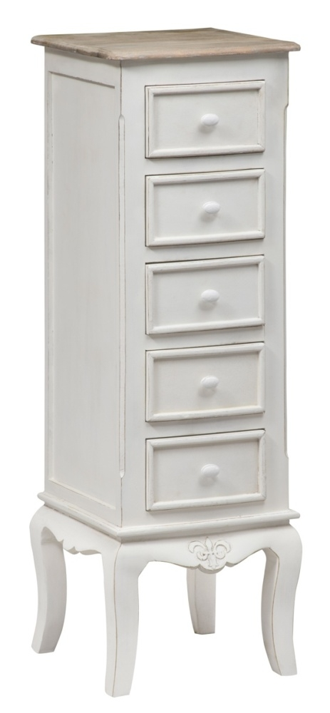 Urban Deco Fleur French Style Distressed Painted 5 Drawer Tall Boy Chest