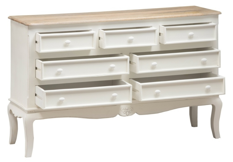 Urban Deco Fleur French Style Distressed Painted 7 Drawer Wide Chest