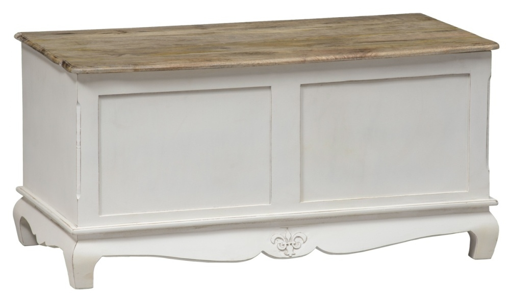 Urban Deco Fleur French Style Distressed Painted Blanket Box