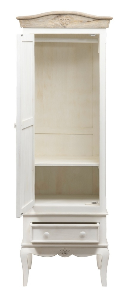 Urban Deco Fleur French Style Distressed Painted 1 Door Wardrobe