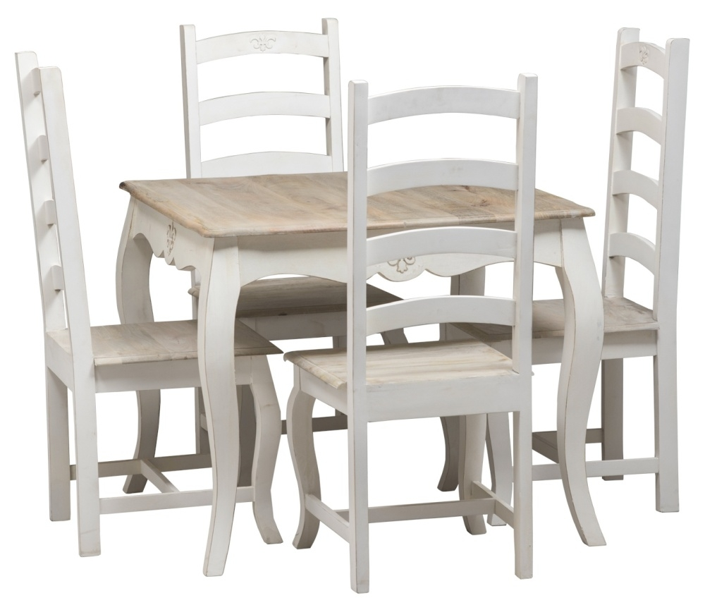 Urban Deco Fleur French Style Distressed Painted 90cm Square Dining Table