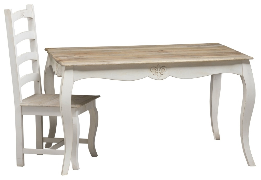 Urban Deco Fleur French Style Distressed Painted 135cm Dining Table