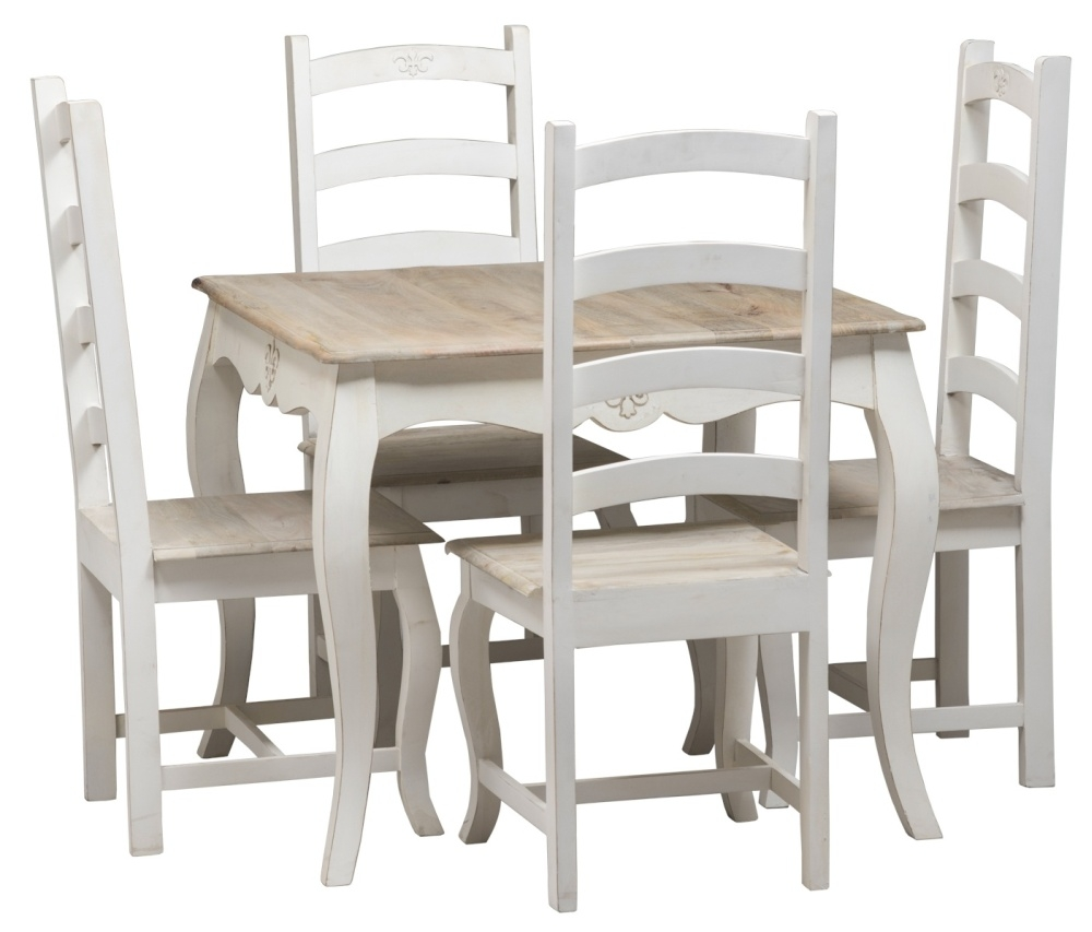 Urban Deco Fleur French Style Distressed Painted High Back Dining Chair