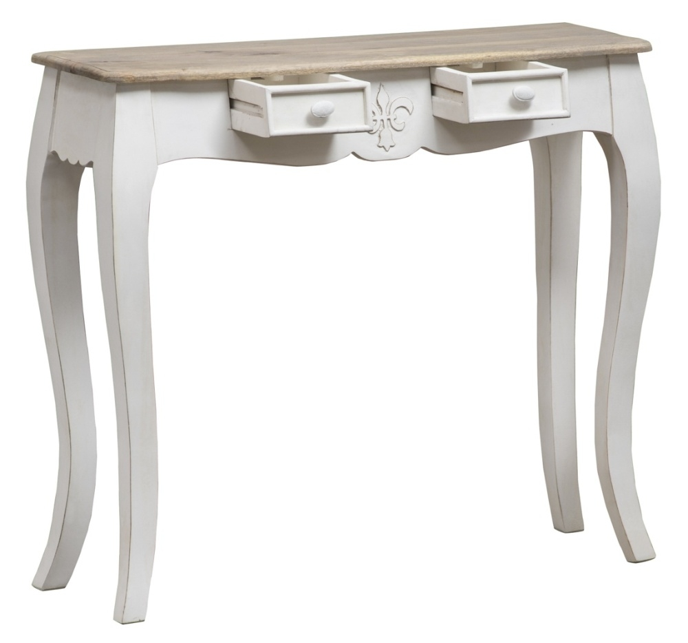 Urban Deco Fleur French Style Distressed Painted Console Table/ Desk