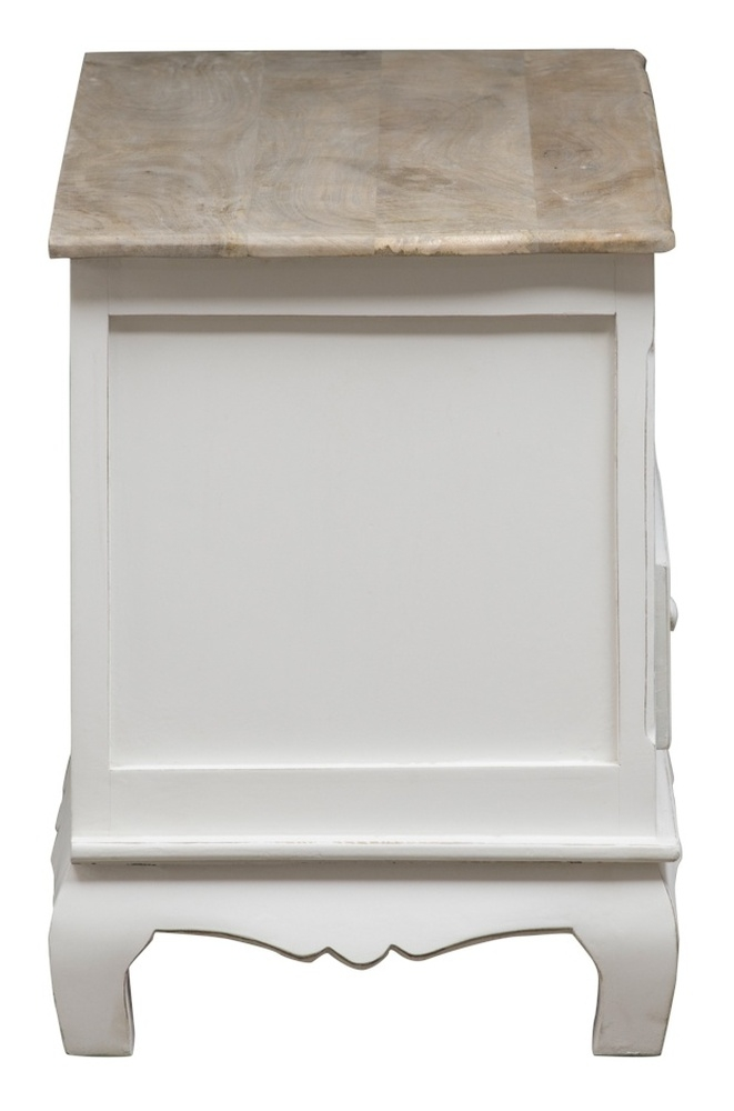 Urban Deco Fleur French Style Distressed Painted Corner TV Cabinet