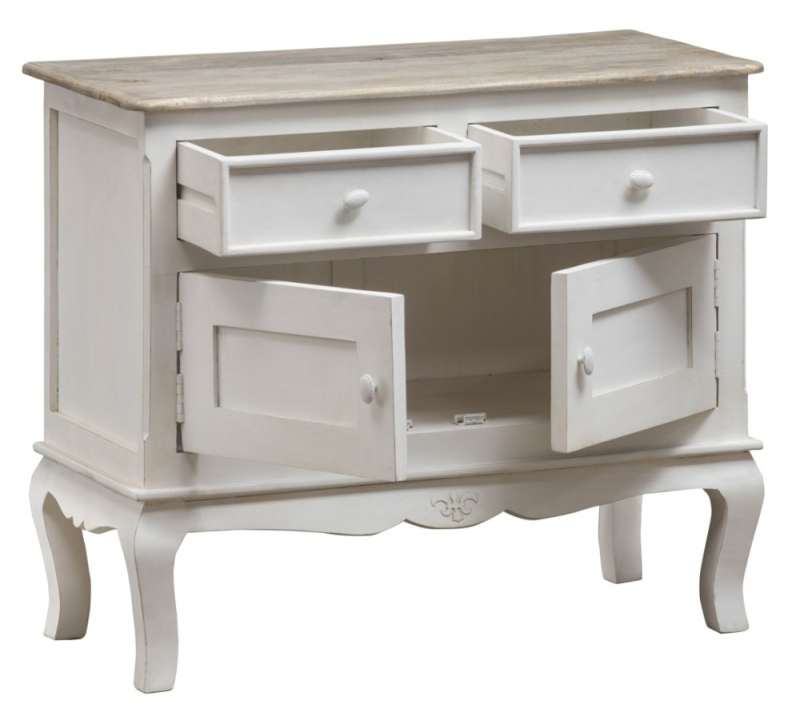 Urban Deco Fleur French Style Distressed Painted 2 Door Sideboard