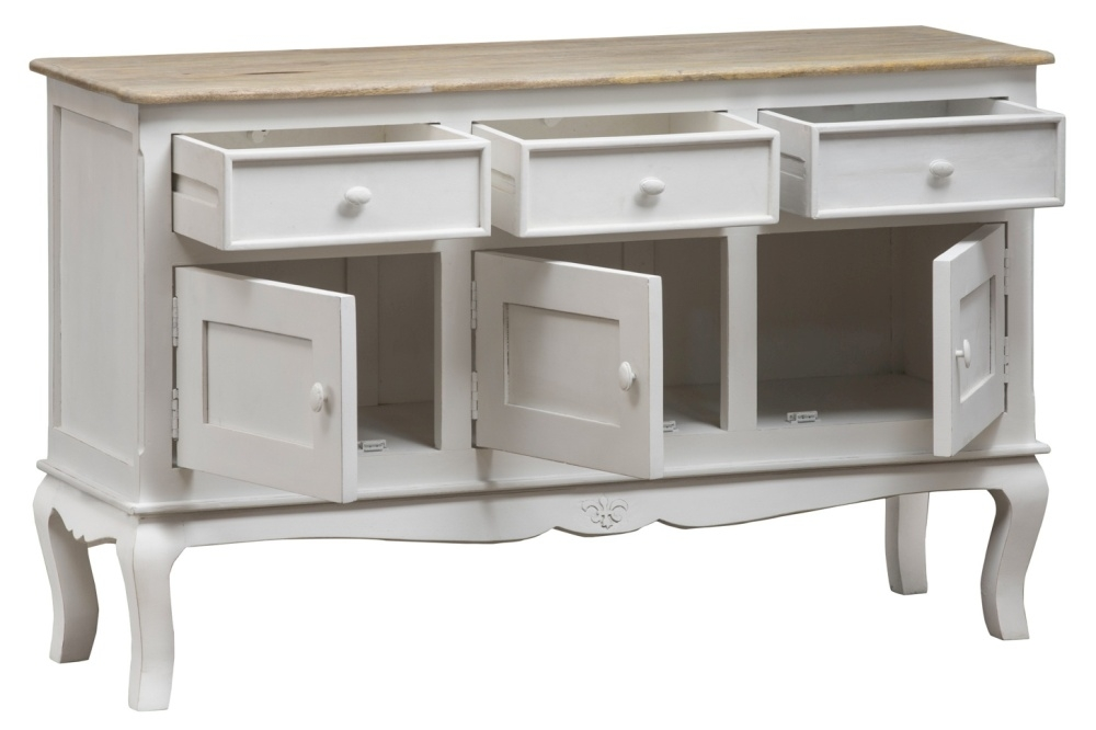 Urban Deco Fleur French Style Distressed Painted 3 Door Sideboard